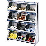 Stack-On Bin Clear View, Metallic Silver