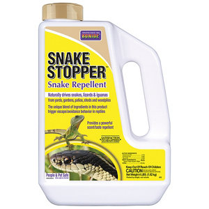 Bonide SNAKE STOPPER uses a special combination of natural ingredients to safely and effectively repel snakes, lizards, and iguanas without harm. The clove oil, cedar oil, cinnamon oil and sulfur blended in Bonide SNAKE STOPPER triggers a powerful response in snakes that makes them want to avoid and escape from the treated area.2/5(1).