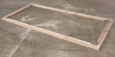 begin this coop by constructing a frame from 2x4s a b to join the parts use galvanized angle brackets