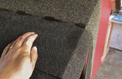 Trim the shingles at the roof edges