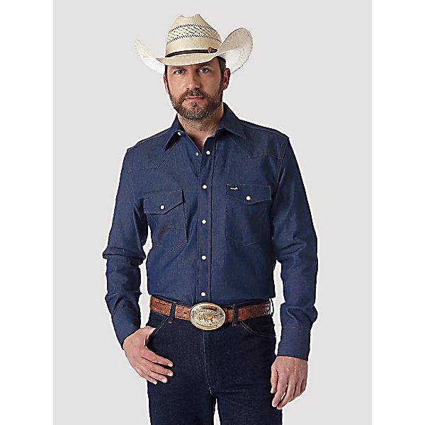 wrangler men 39 s long sleeve rigid denim work shirt
