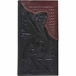 American West Men's Rodeo Wallet with Flap for Checkbook, Black and Antique Red