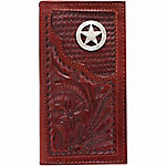 American West Men's Rodeo Wallet with Flap for Checkbook, Mahogany Brown