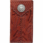 American West Men's Rodeo Wallet with Flap for Checkbook, Antique Brown