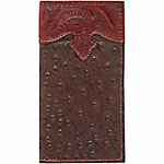American West Men's Rodeo Wallet with Flap for Checkbook, Mahogany Brown and Printed Brown Ostrich Leather