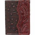 American West Men's Tri-Fold Wallet, Mahogany Brown and Printed Brown Ostrich Leather