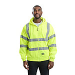 Berne® Class 3 Hi-Vis Thermal-Lined Zip-Front Hooded Sweatshirt with Reflective Tape