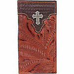 American West Men's Rodeo Wallet with Flap for Checkbook, Chocolate and Antique Brown