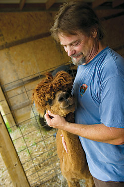 Bart Lineberger with one of his alpacas