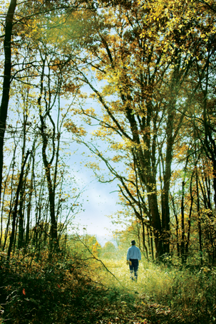 Bruce walking on a trail through some trees on his property