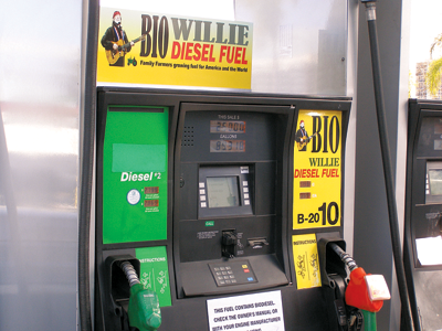 a gas pump selling Willie's biodiesel fuel