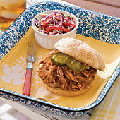 Barbecue Pork with Sweet Barbecue Sauce and Fresh Cabbage Salad