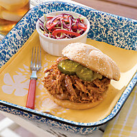 Barbecue Pork For A Crowd with Sweet Barbecue Sauce and Fresh Cabbage Salad