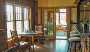 an interior view of the Peck home from the kitchen into the living room
