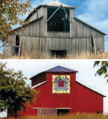 top portion is the barn before restoration, bottom portion is the barn after restoration