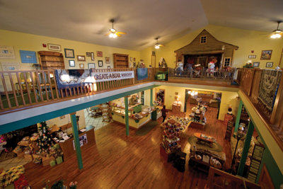balcony view of the Bearcreek Farms gift shop