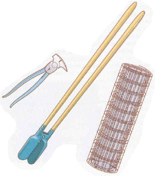 a multi-use fencing tool, a post-hole digger, and a roll of fencing