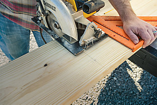 cutting the lumber to the right sizes