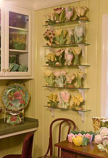 Judy's display of McCoy pottery
