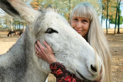 Deb Kidwell with a Mammoth Jackstock donkey