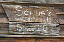Sciple's Water Mill old wooden sign