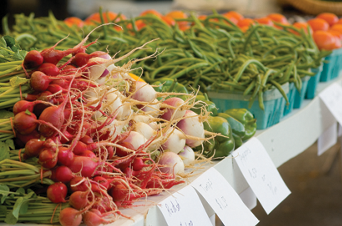 produce set out for sale on a table
