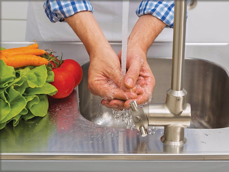 hands being washed under running water over a metal sink with fresh tomatoes and carrots on the neighboring counter