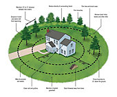 Illustration of a house with concentric circles demonstrating fire breaks with dimensions and instructions