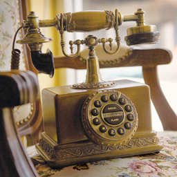 an antique phone on consignment as a decorative accessory