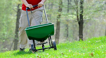 Man fertilizing lawn to help prevent crabgrass.