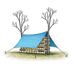 illustration of how to correctly stack firewood - between trees or end posts, cross-stacked layers, with a covering tarp that allows for the passage of air crossways