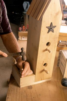Jim working on a woodpecker / flicker house