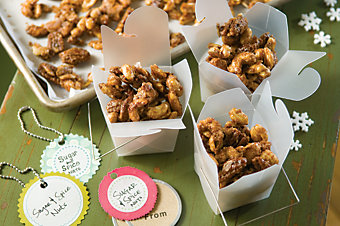 Sugar and Spice Nuts in small, decorative carboard containers