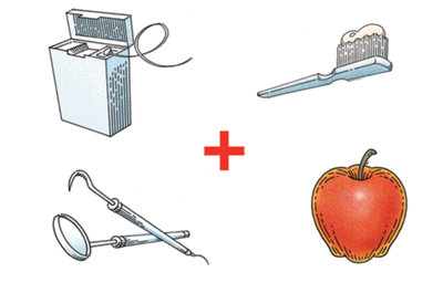 dental floss, a toothbrush, a dental mirror and pick, and an apple