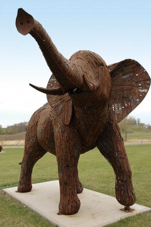 an elephant Ken made of lawnmower blades