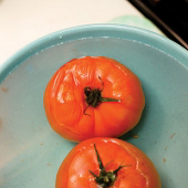dip the tomatoes into cold water