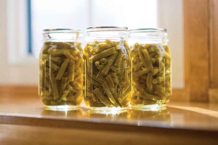 green beans packed in jars