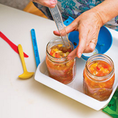 'bubble the jars' with a plastic knife, adding extra salsa if needed for correct headspace