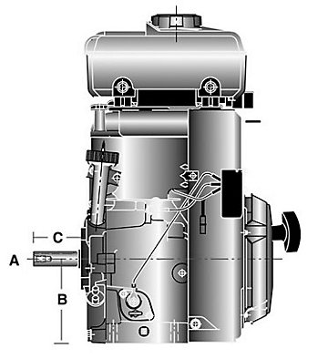 Diagram of a horizontal crankshaft engine