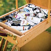 her box of art supplies