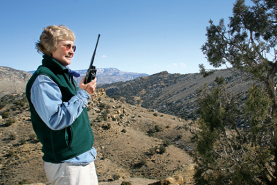 Marty out in the backcountry with her walkie talkie