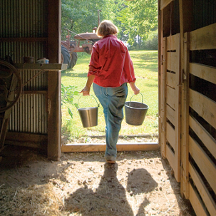 Gayle carrying buckets out of the barn