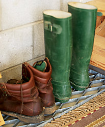 boots sitting on a mud mat