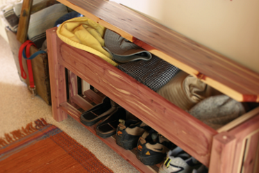a boot bench with extra storage