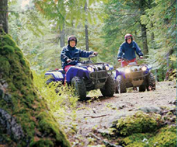 two ATV riders on a nature trail