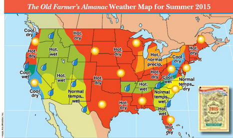 summer 2015 weather map from the Almanac
