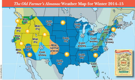 winter 2014-15 weather map from the Almanac