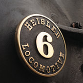 one of the locomotive logos on the side of an engine: 'Heisler Locomotive 6'
