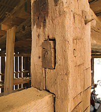 dovetail joints and wooden dowel construction inside the barn