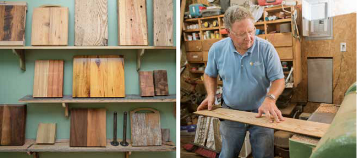 examples of reclaimed wood on the left side, Michael working with one of the pieces on the right side